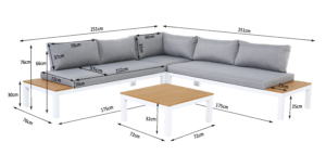 Aluminium Sitzgarnitur Ambience Lounge mit WPC-Streben